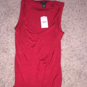 Red tank top with chest cut-out